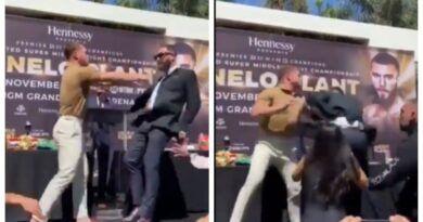 ¡A golpes! Canelo Álvarez y Caleb se enfrentaron en presentación