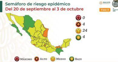 4 estados están en semáforo verde y naranja, 24 en amarillo; ninguno en rojo